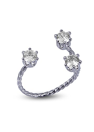 Fasherati Silver Three Solitaire Twisted Ring for Girls