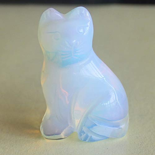 1.6'' Hand Carved Mixed gemstom cat Figurine Animal Carving (White opalite)