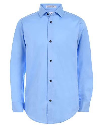 Calvin Klein Boys' Big Long Sleeve Sateen Dress Shirt, Light Blue, 16