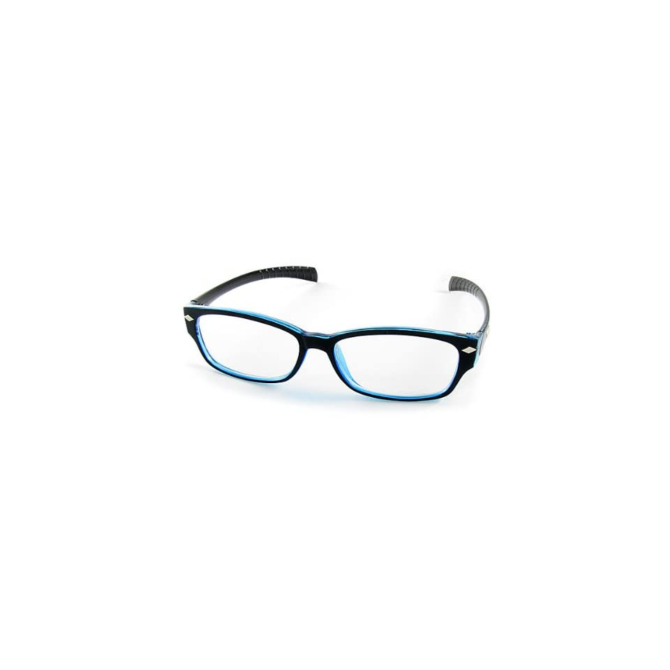Como Black Blue Rim Clear Lens UV Protection Plain Glasses