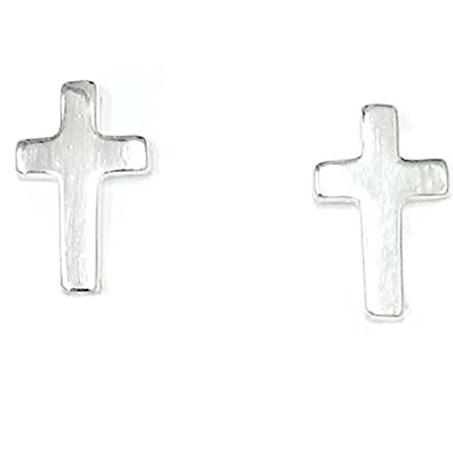 Tisoro Sterling Silver Cross Stud Earrings in Plain Silver or with Cubic Zirconia (Clear or Rose Gold) (Silver)