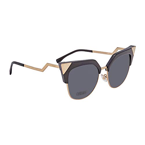 Fendi Women's Iridia Crystal Corner Sunglasses, Black Gold/Grey, One ()