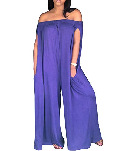BONESUN Women Sexy Onepiece Jumpsuits Boat Neck Pockets Casual Loose Rompers Purple 2XL ()