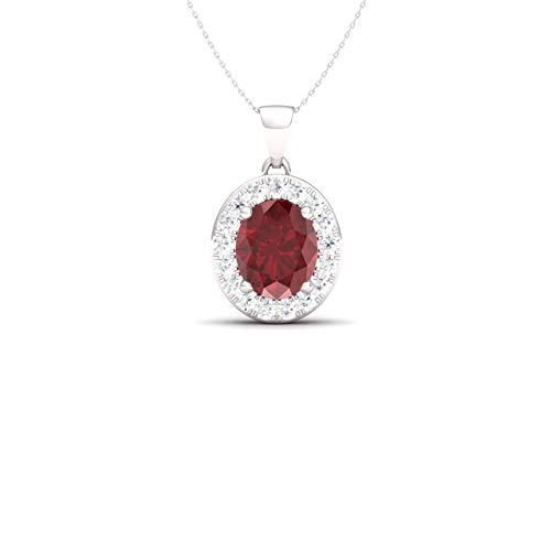 (Diamondere Natural and Certified Oval Cut Ruby and Diamond Petite Necklace in 14k White Gold | 0.62 Carat Pendant with Chain)