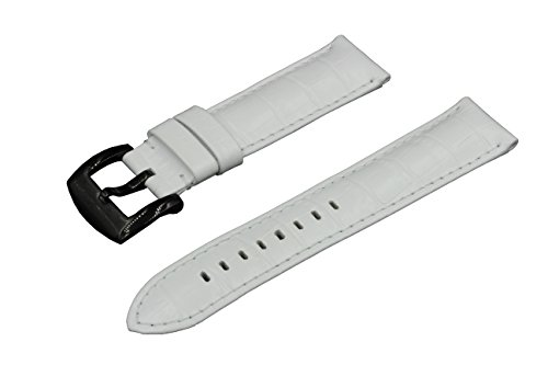 SWISS REIMAGINED 8 Colors Quality Genuine Leather Replacment Watch Band Strap - White