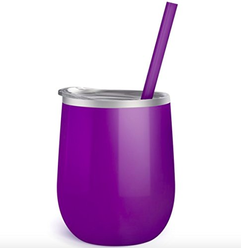 Purple - 12 oz Stainless Steel Stemless Wine Glass with Lid and Straw - Wine Tumbler Sippy Cup for Adults (Purple)