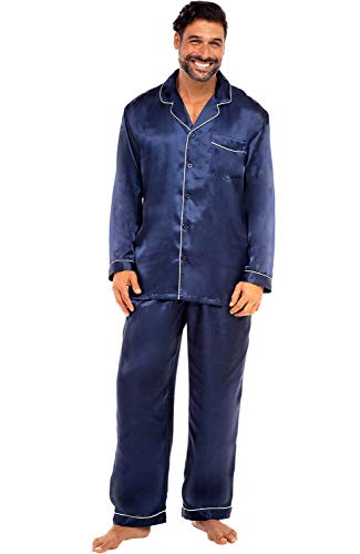 Alexander Del Rossa Men's Button Down Satin Pajama Set with Sleep Mask, Long Silky Pjs, Large Deep Navy Blue (A0752MBLLG)