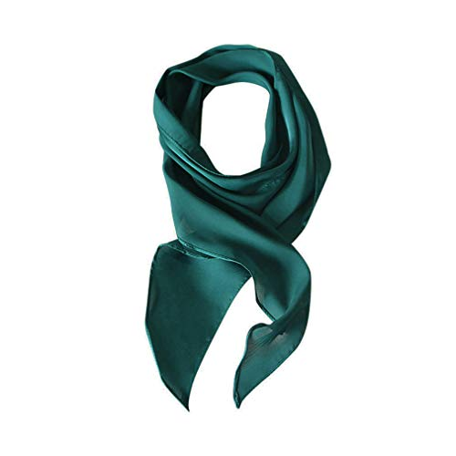 (GERINLY Solid 50s Neckerchief for Summer Long Silk Hair Tie Scarf Headband for Graduation Party (Lyons Blue))