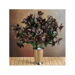 6 Chocolate Brown Bushes Silk Mini PRIMROSES Wedding Flowers Bouquet Decorations 55