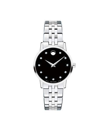 Movado Museum Classic, Stainless Steel Case, Black Dial, Stainless Steel Bracelet, Women, 0607207 ()