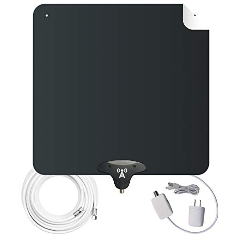 NoCable 50 - Indoor Amplified HDTV Antenna | 30-50 Mile Range, 12 Foot Cable, Free TV for Life, Reversible and Ultra-Flat, Digital Antenna & Signal Boosting Amplifier. Easy Install (Difference Between Analog Electronics And Digital Electronics)