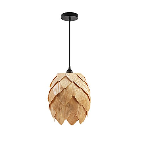 Huarsp B5201704 Fashion Pineapple Wood Veneer Material Shape Chandeliers for Restaurant, Study, Kitchen,Bedroom, etc.Burlywood by Huarsp (Image #2)