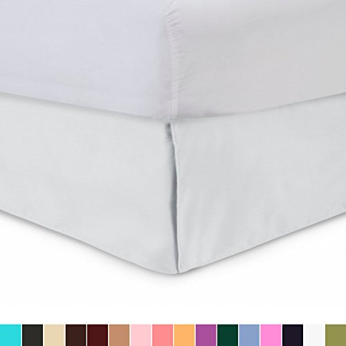 Harmony Lane Tailored Bedskirt - 18 inch Drop, King, White Bed Skirt with Split Corners (Available in and 16 Colors)