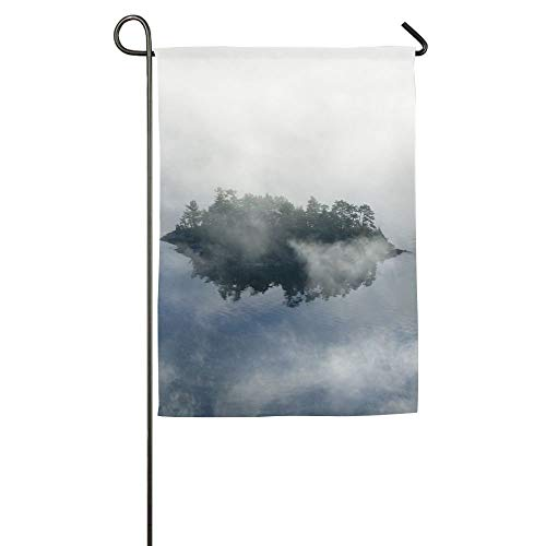 Fashbag 12 x 18 inch Aerial View of Fog in Autumn Over Islands and Hills North of Portland Maine Family Garden House Home Demonstration Game Flag ()