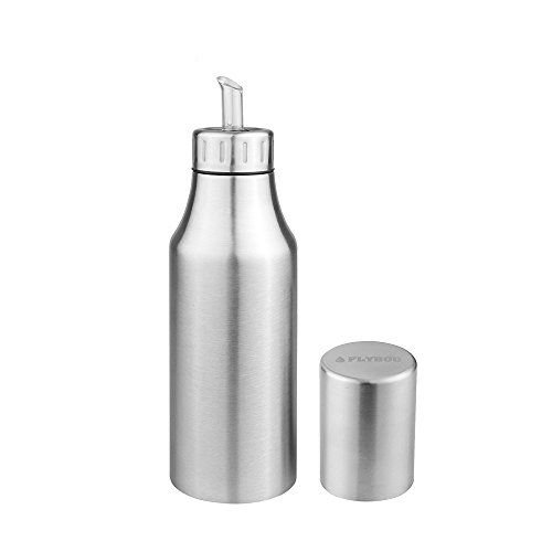 (Oil Dispenser Controlled Cooking Stainless Steel Unbreakable Oil Vinegar Pot Oil Pourer Bottle Olive Oil Container Safey Exquisitely Leak Proof Oil Quantity Control Fits Perfect for BBQ 25oz (750ML))