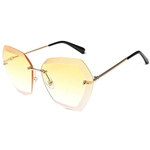 la unisexe UV irrégulières conduite Sans monture à protection soleil mode surdimensionné Jaune lunettes de les lunettes élégant Style pour soleil femmes lunettes Grandes la de personnal de rétro pour soleil qREZgZ
