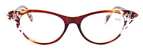 Tortoise Rhinestone (Amillet Vintage Ladies Cat Eye Tortoise Reading Glasses with Rhinestones for Women)