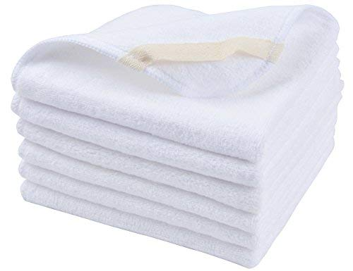 (Sinland Microfiber Facial Cloths Fast Drying Washcloth 12inch x 12inch White 6 pack)