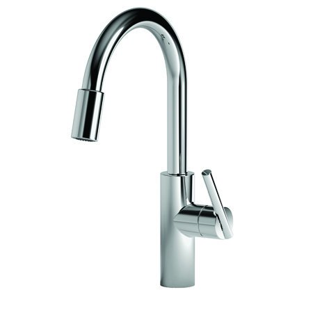 (Newport Brass 1500-5103/26 Polished Chrome East Linear Kitchen Faucet with Metal Lever Handle and Pull-down Spray)