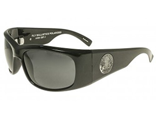 Fly Ballistics 25th Anniversary Sunglasses (Shiny Black w/ Smoke Polarized Lens, one - Black Fly Sunglass