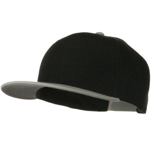 Otto Caps Wool Blend Flat Visor Pro Style Snapback Cap - Grey Black (Ultrafit Wool Blend Cap)