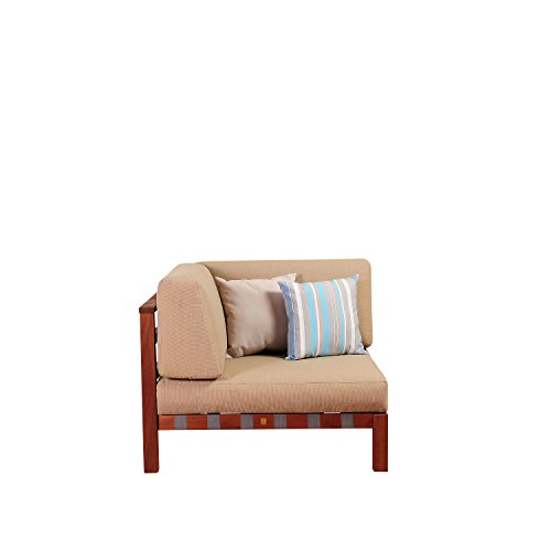(Amazonia Portugal Eucalyptus Sectional Corner Piece with Khaki Cushions by Jamie Durie)