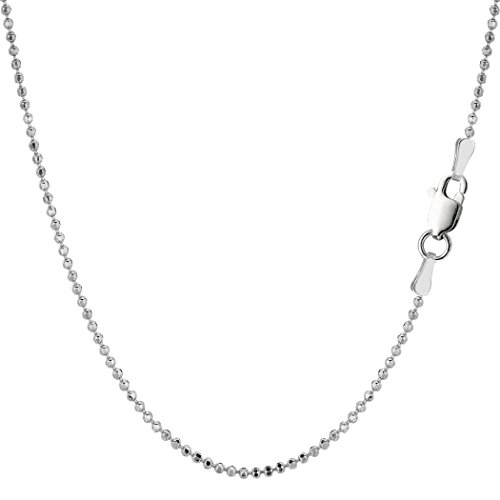 Sterling Silver Rhodium Plated Bead Chain Necklace, 1,5mm, 20