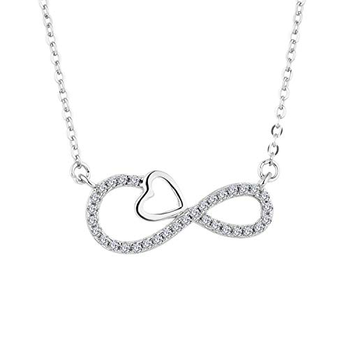 YL 18K White Gold Diamond Infinity Heart Pendant Necklace for Women(H-I Color, SI Clarity)