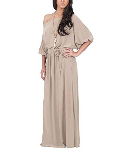 Vestido Para Mujer Largo Sin Hombro De Fiesta Cóctel Tallas Grandes Elegante Caqui