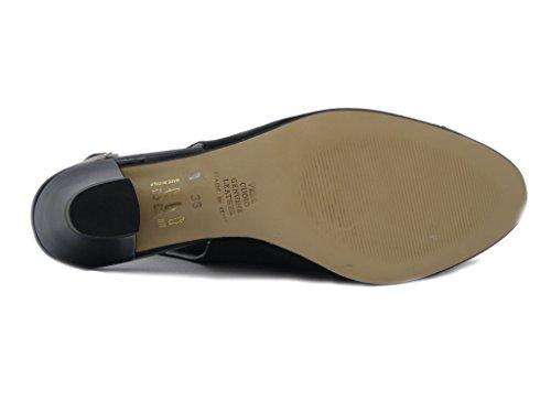 Raso Elegante In Nero Scarpa Tacco Donna Pericoli Osvaldo 5cm Tessuto E Sandalo B40fI