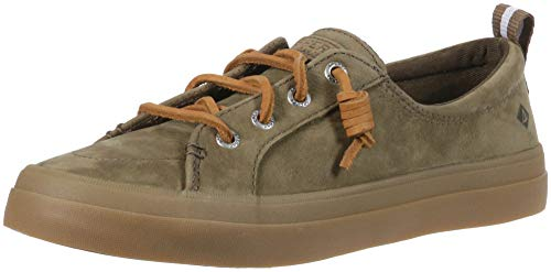 Sperry Women's Crest Vibe Washable Leather Sneaker, Olive, 8 M US