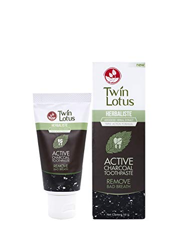 Twin Lotus Active Charcoal Toothpaste Herbaliste | Free Fluoride SLS Activated Coconut Charcoal Teeth Whitening& Eliminate Bad Breath| Toothpaste 50g
