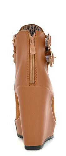 Aisun Womens Fashion Dubbade Kil Hög Klack Boots Brown
