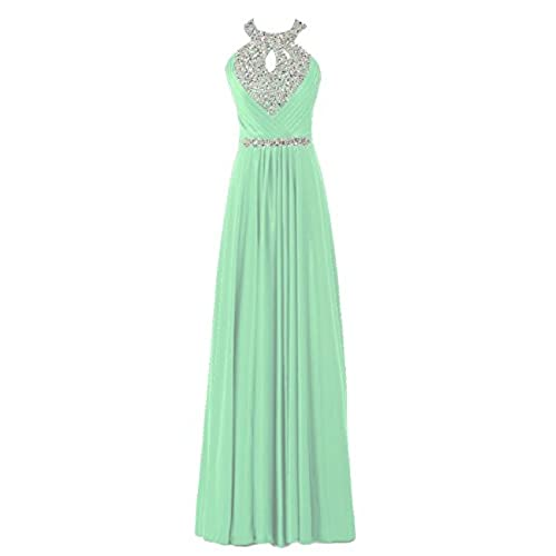 OYISHA Womens Backless Beaded Prom Homecoming Dresses Formal Gown Mint 12