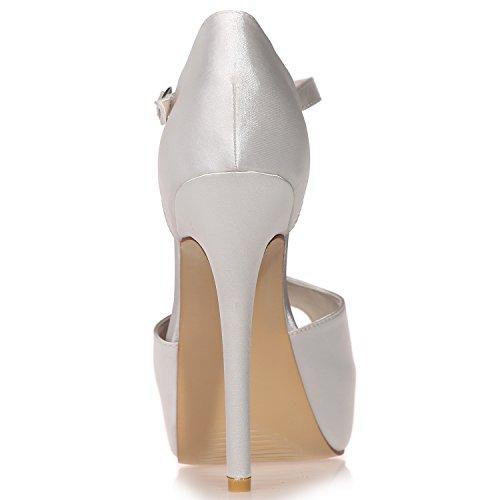Loslandifen Womens Peep Toe Sandali Con Cinturino Tacco Piattaforma Tacchi Alti Scarpe Da Sposa Avorio
