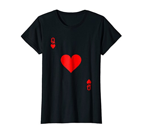 Womens Queen of Hearts Playing Card Halloween Costume T-Shirt Large Black