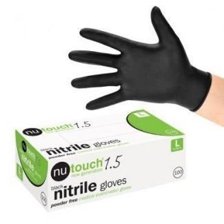 3 x Boxes of Nutouch Black Nitrile Latex Free Examination Gloves