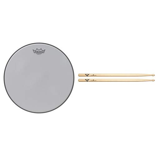 Remo Silentstroke Drumhead, 14'' with Vater 5B Wood Tip Hickory Drum Sticks, Pair by Remo