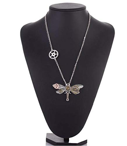 Steampunk Vintage Dragonfly Pendant Necklace Antique Bronze Insect Choker Chain Necklace For Women 2018 Jewelry