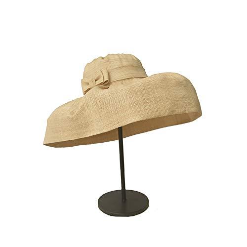 QERNTPEY Hats Women's Summer Sun Beach Straw Hat Women's Summer Straw Hat Vintage Raffia Cloth Small Sunshade Pleated Cap Beach Hat Tourism Floppy Hat Big Cap for Women/Girls One Size ()