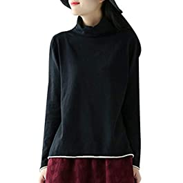 YESNO EE6 Girls Casual Basic Sweater Knitted Pullover Tops High Collar Long Sleeve