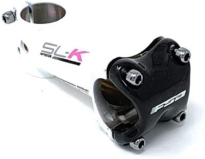 FSA SL-K OS-115 自転車ステム カーボンフェースプレート 合金ボディ 31.8 x 90 mm +/-6 度 ホワイトボディ x ピンクデカール