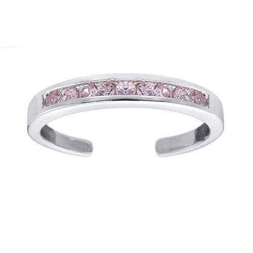 Sterling Silver Channel-Set Pink CZ Toe Ring