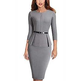 HOMEYEE Women's Elegant Round Neck Peplum Belt Business Dress B473