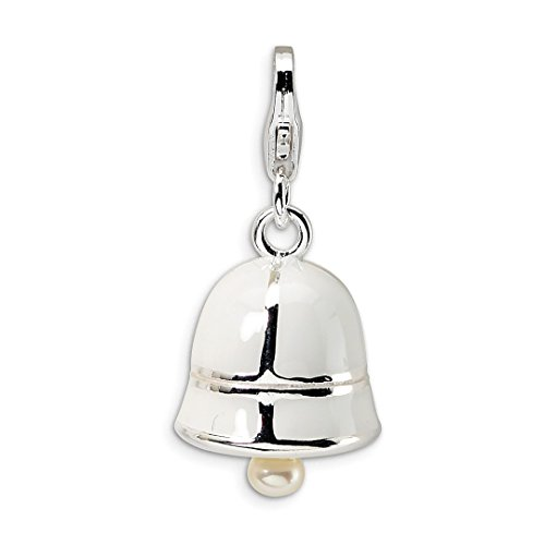 925 Sterling Silver Rh Freshwater Cultured Pearl White Enamel Bell Lobster Clasp Pendant Charm Necklace Fine Jewelry Gifts For Women For -