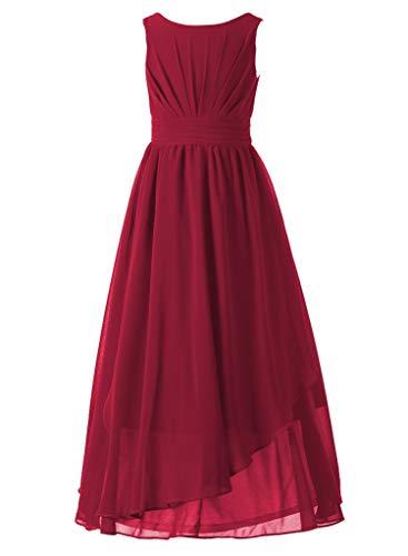 Happy Rose 7-16 Chiffon Girls Junior Bridesmaid Dress Wine 14 ()