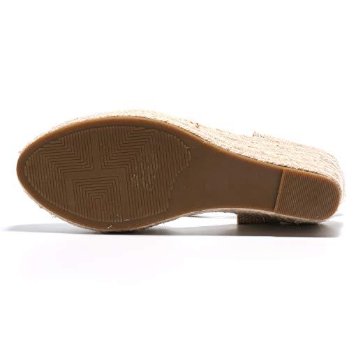 Alexis Leroy Women's Closed Toe Buckle Strap Slingback Espadrilles Wedge Sandals