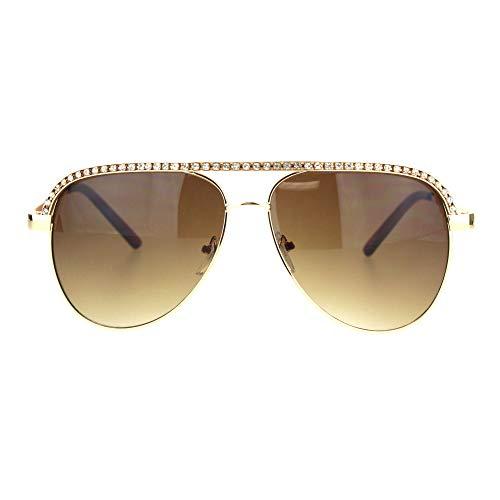 Silver Rhinestone Trimmed Pilot Sunglasses (gold)