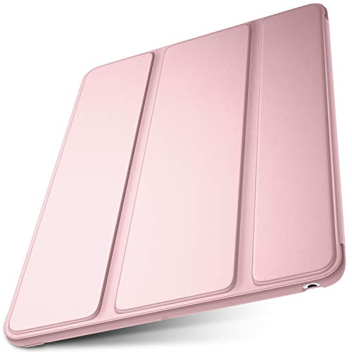 "DTTO Case for New iPad 7th Generation 10.2"" 2019, [Gentle Series] Slim Fit Lightweight Smart Trifold Stand with Soft TPU Back Cover for Apple iPad 10.2 inch 2019 Released [Auto Sleep/Wake], Rose Gold"