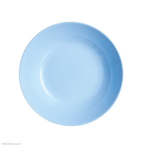 20 cm Color Azul Claro Dajar Diwali Light Blue Plato Hondo de Cristal Templado